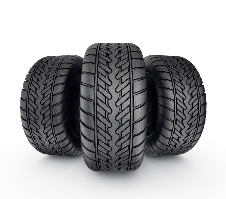 black tyres isolated on a white background